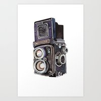vintage camera Art Prints featuring Vintage Camera by Holly Exley Illustration