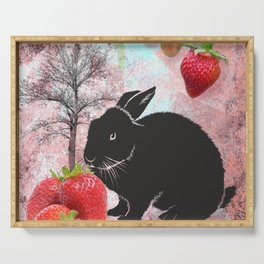 Black Rabbit and Strawberries Serving Tray
