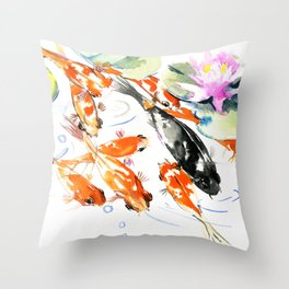 Nine Koi Fish, 9 KOI, feng shui artwork asian watercolor ink painting Throw Pillow