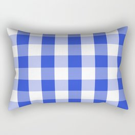Blue and white Tartan (Scotch) Pattern Rectangular Pillow
