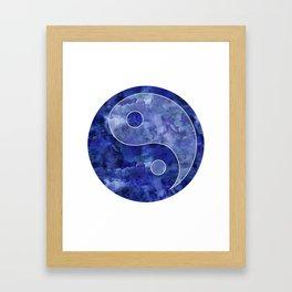 Blue Yin & Yang Mandala Framed Art Print