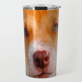 Gold and White Puppy Dog with Blue Collar Travel Mug