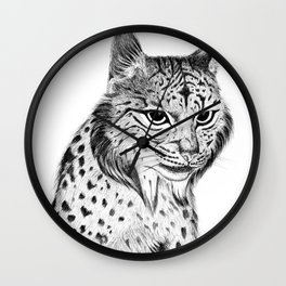 Iberian Lynx B/N Wall Clock