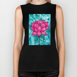 Sacred Lotus – Magenta Blossom with Turquoise Wash Biker Tank