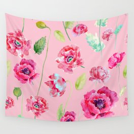 Pink Poppy Pattern 02 Wall Tapestry