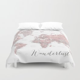 Wanderlust - Dusty pink and grey watercolor world map, detailed Duvet Cover