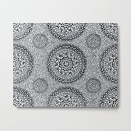 Silver Sparkle and Hand-Drawn Metallic Mandala Textile Metal Print