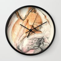 english bulldog Wall Clocks featuring English bulldog Alfie by Pendientera