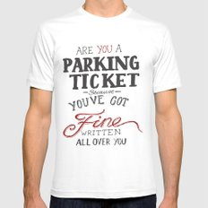 parking ticket red on  grey MEDIUM White Mens Fitted Tee