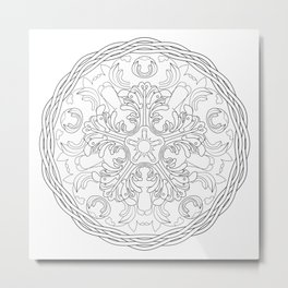 Round ornament with floral ancient Greek motif Metal Print