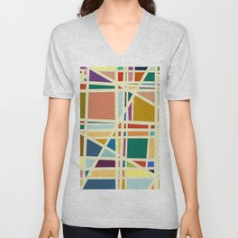Colorful Abstract Geometric Grids Unisex V-Neck
