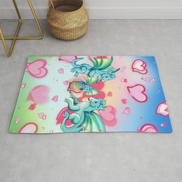 Lots of hearts and a cartoon family of dragons Rug