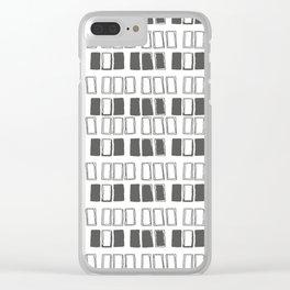 Blocks White/Grey Clear iPhone Case