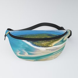 Crystal white sands and turquoise blue waters of Whitehaven Beach – Australia Fanny Pack