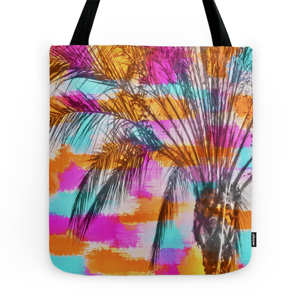 Palm Tree With Colorful Painting Abstract Background In Pink Orange Blue Tote Purse by timla (TBG7740481) photo
