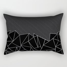 Ab Lines 45 Grey and Black Rectangular Pillow