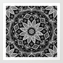 Mandala black white art pattern floral design Art Print