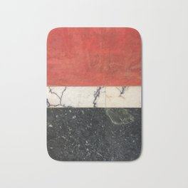Red paint, white and black marble Bath Mat