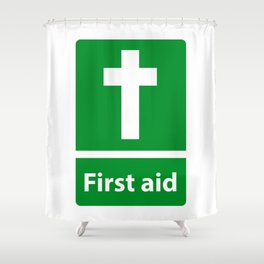 First Aid Cross - Christian Sign Illustration Shower Curtain