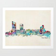 Grand Rapids Michigan skyline Art Print