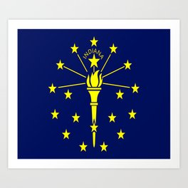 flag indiana,midwest,america,usa,carmel, Hoosier,Indianapolis,Fort Wayne,Evansville,South Bend Art Print