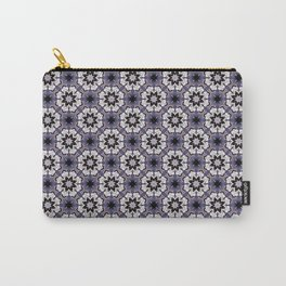Plum White and Black Digital Flower Pattern Carry-All Pouch