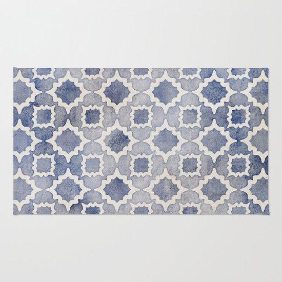 Worn Amp Faded Navy Denim Moroccan Pattern In Grey Blue