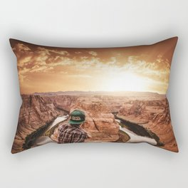 man on top of horse shoe bend Rectangular Pillow