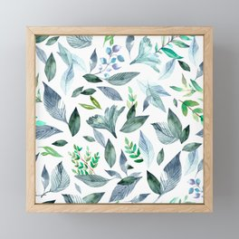 Watercolor fallen leaves 8 Framed Mini Art Print