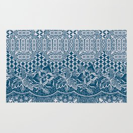lace border with floral and geo in teal Rug