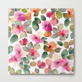Colorful flowers. Watercolor florals. Apple blossom. Metal Print