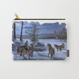 Beautiful artwork in a scenic lake setting with a full moon shining and the pack is howling! Carry-All Pouch