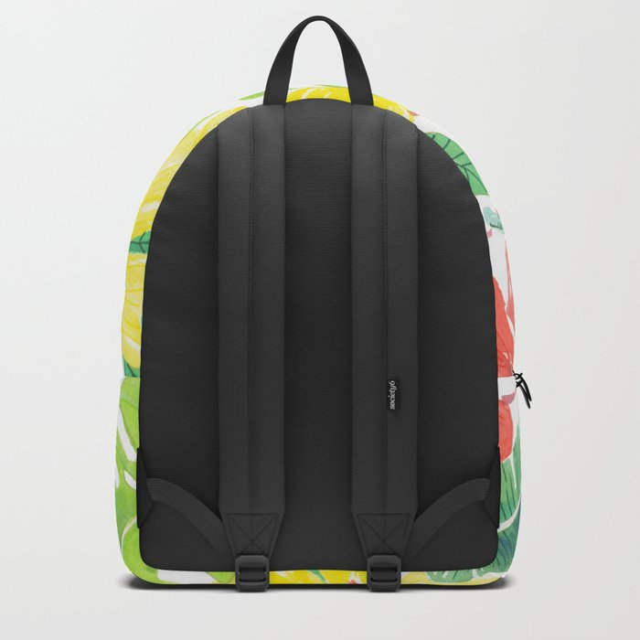 Tropical garden, hibisus, plumeria and palm leaves Backpack