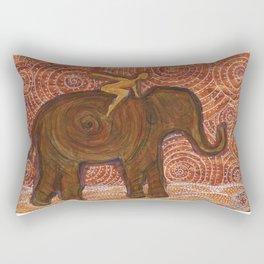 Flying Girl Receives Assistance on the Long Journey, or Elephant Spirit Rectangular Pillow