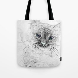 Siberian Kitty Cat Laying on the Marble Slab Tote Bag