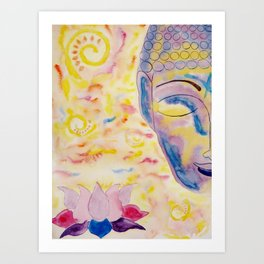Half buddha face and lotus flower Art Print