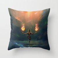 airbender Throw Pillows featuring Firebender by AngHuiQing
