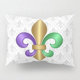 Purple Green and Gold Fleur-de-Lis on Gray Pattern Pillow Sham