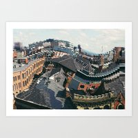 manchester Art Prints featuring Manchester by aleenaaa