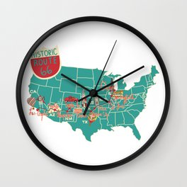 Historic Route 66 map Wall Clock