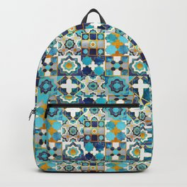 Spanish moroccan tiles inspiration // turquoise blue golden lines Backpack