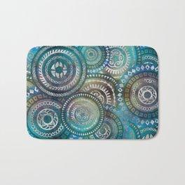 Gentle Blue Circular Tribal  pattern with silver Bath Mat