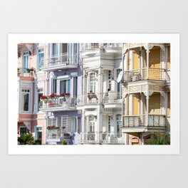 Travel Photography 'street in Arnavutkoy, in Istanbul, Turkey with colorful houses in pastel tones, fine art photo print.  Art Print