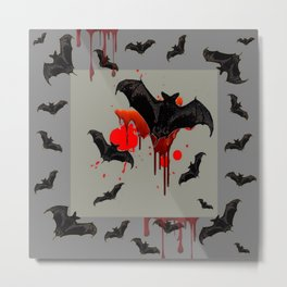 GREY ART OF FLYING BLACK BATS BLOODY  HALLOWEEN PARTY Metal Print