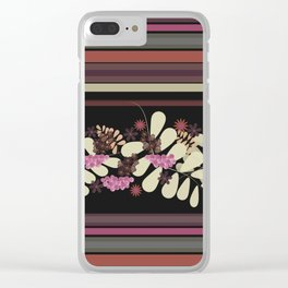Floral, striped 2 Clear iPhone Case