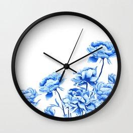 blue peonies 2 Wall Clock
