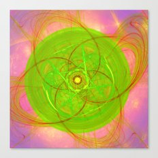 Abstract floral kaleidoscope in green Canvas Print