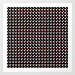 White and red on black pattern Art Print