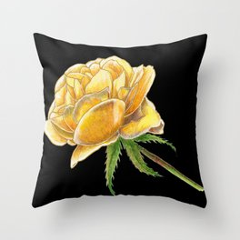 Yellow Rose on black Throw Pillow