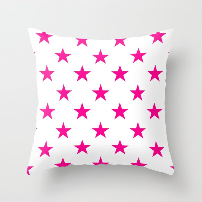 Stars (Magenta/White) Throw Pillow